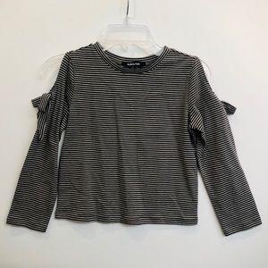 Other - Girls long sleeve cold shoulder mini stripe top